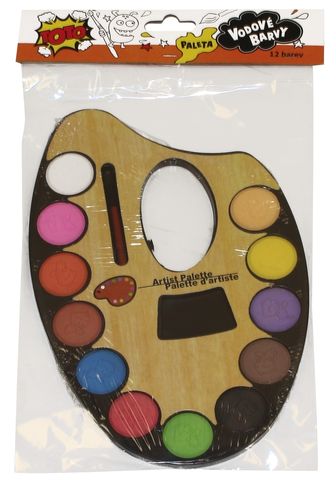 Paleta s vodovými farbami 12ks