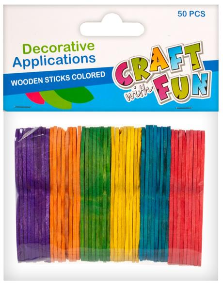 Paličky drevené farebné 50ks