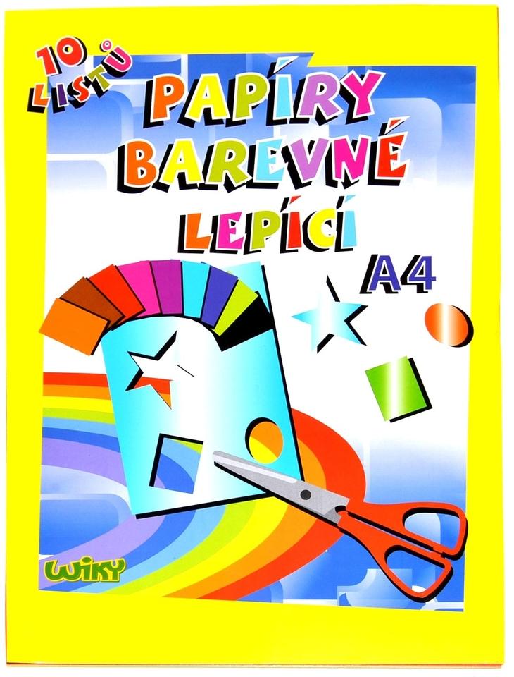 Papier farebný lepiaci A4, 10 listov