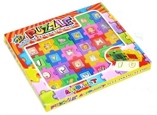 Pečiatka puzzle 2D písmena abecedy