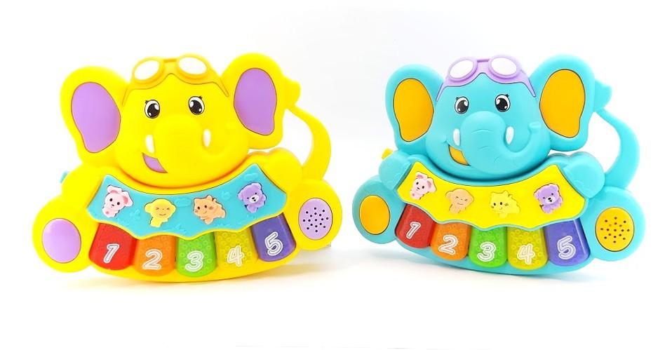 Piano baby sloník na batérie - tyrkysová