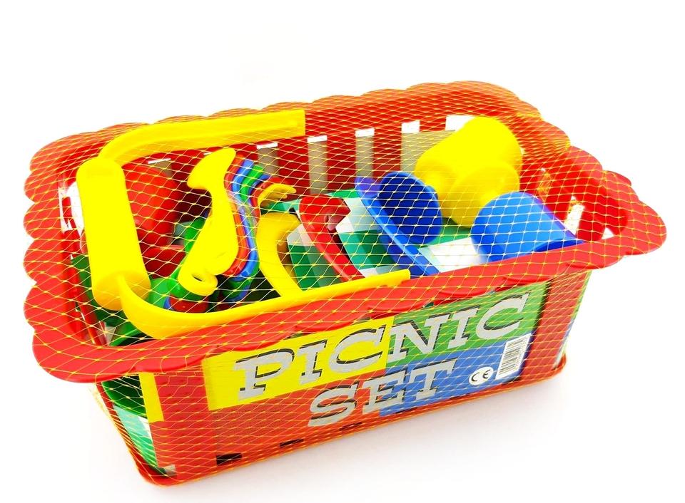 Piknik set v košíku - modrá