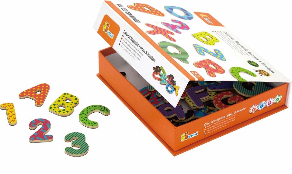 Viga Drevené magnetické písmenka a čísla