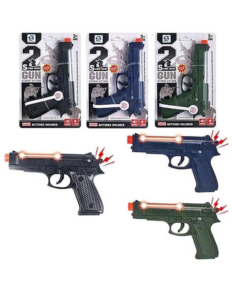 Pištoľ zvukové a svetelné efekty 17cm - zelená