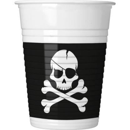 Pohár párty pirátska lebka