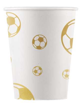 Poháre Football zlaté 200ml 8ks