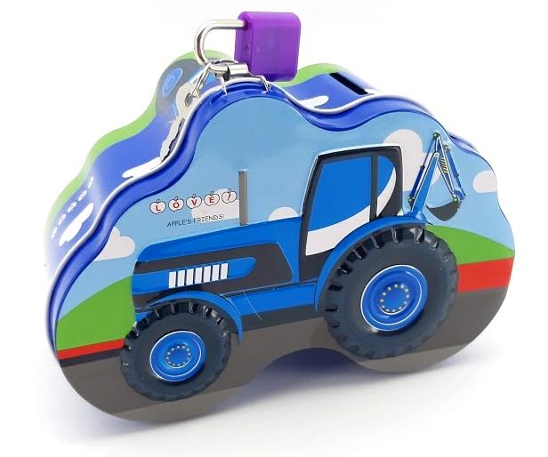 Plechová pokladnička traktor 14x10cm - tmavo modrá