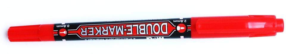 Popisovač obojstranný červený0.8mm/2.8mm