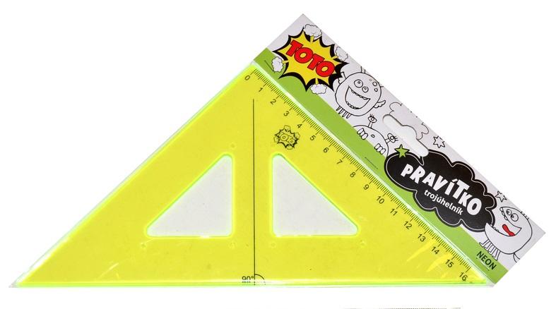 Pravítko trojuholník neon