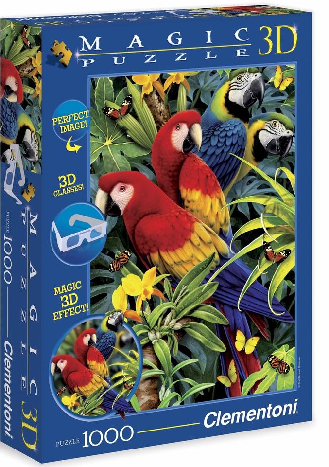 Clementoni Puzzle 1000 Papagáje 3D