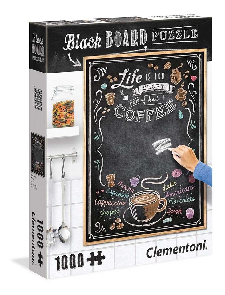 Clementoni puzzle 1000 Čierna tabuľa -káva