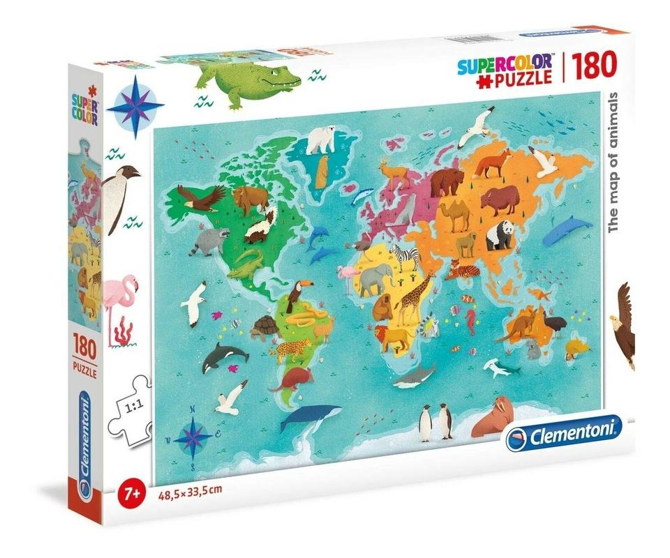 Clementoni puzzle 180 Mapa zvierat