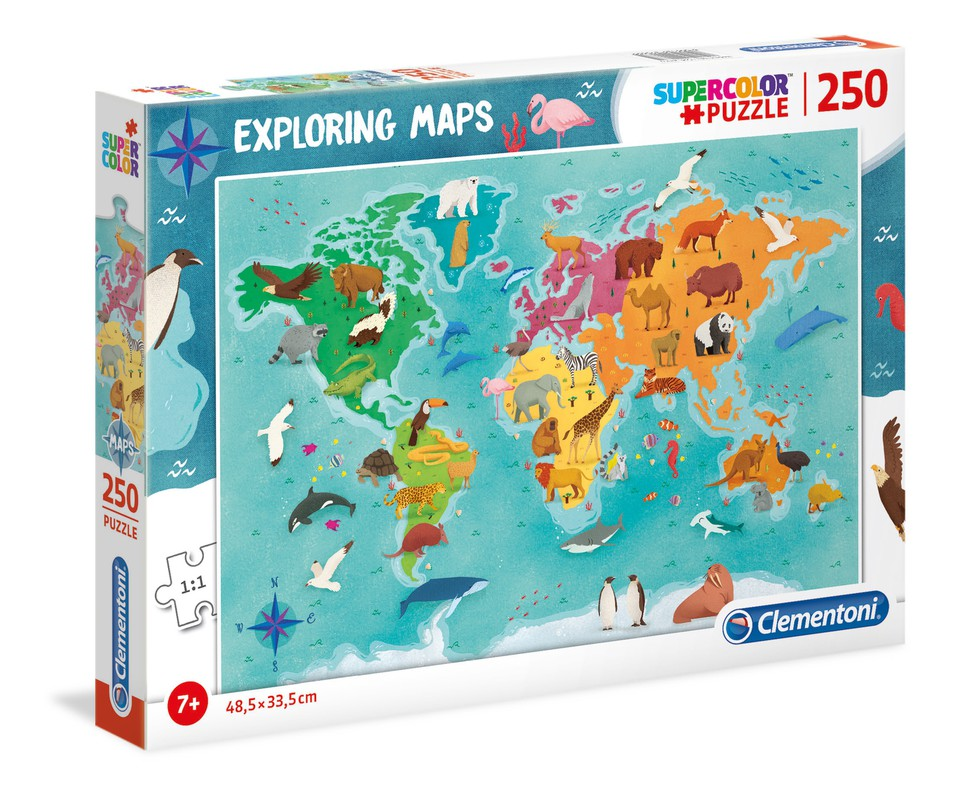 Clementoni Puzzle 250 Mapa zvierat