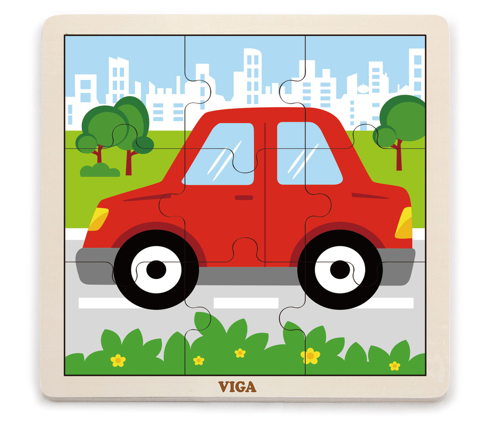 Viga Drevené puzzle autíčko 9ks