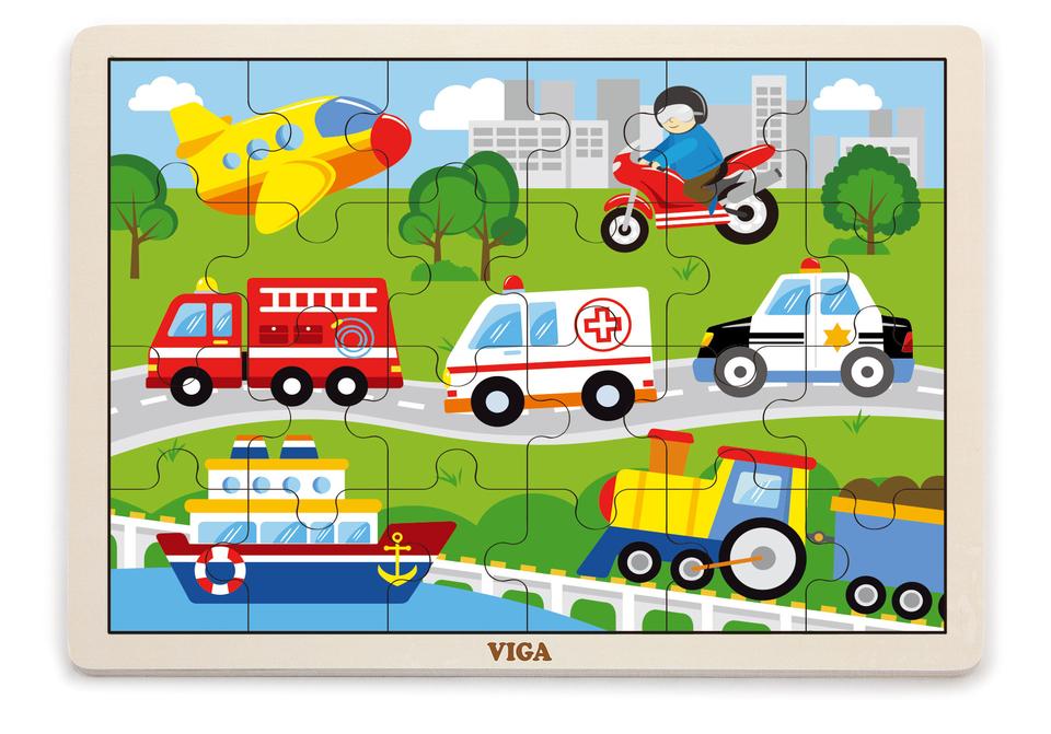 Viga Drevené puzzle dopravné prostriedky 24ks