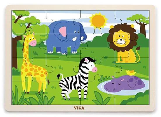 Viga Drevené puzzle safari 16ks