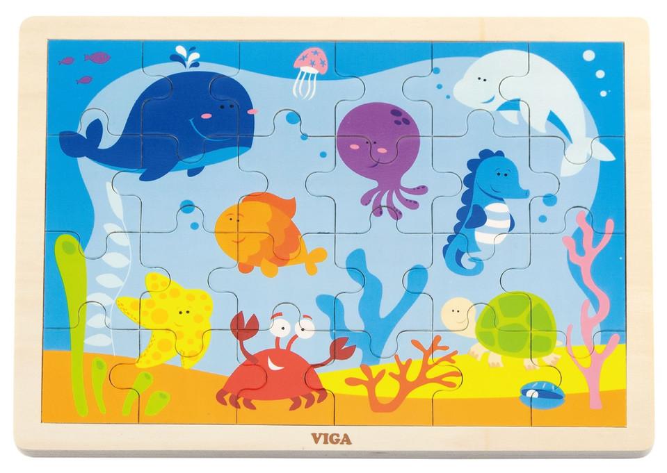 Viga drevené puzzle oceán 24 dielov