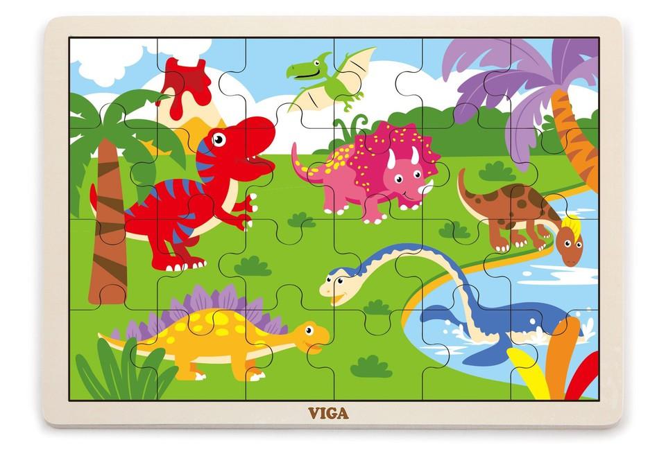 Viga Drevené puzzle Dinosaurusy 16ks