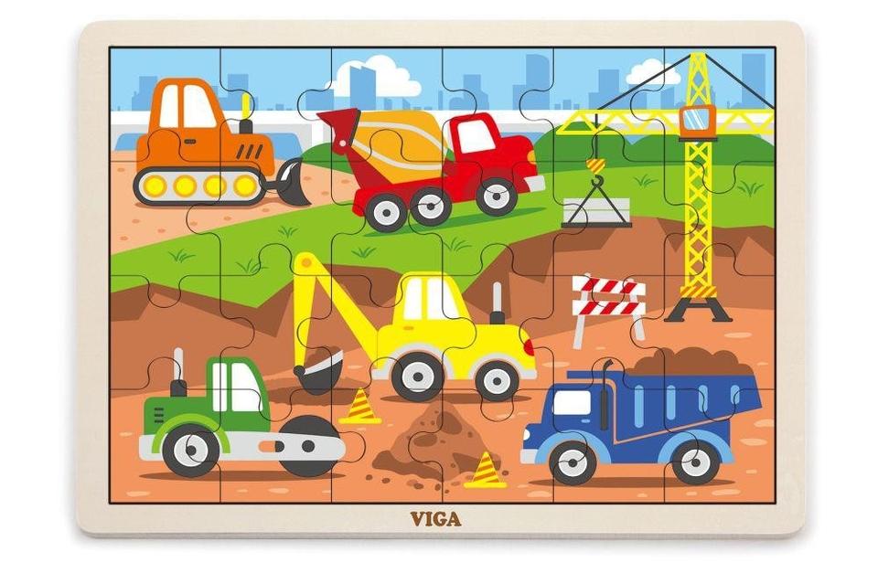 Viga Drevené puzzle stavebné stroje 24ks