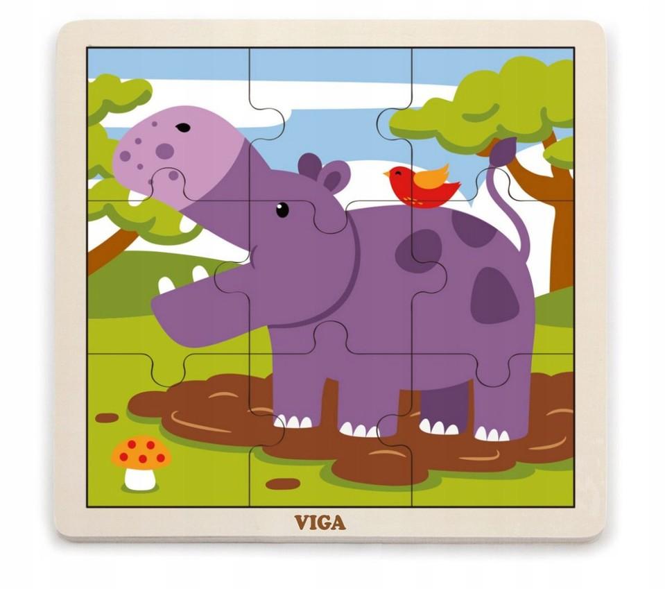 Viga Drevené puzzle hroch 9ks