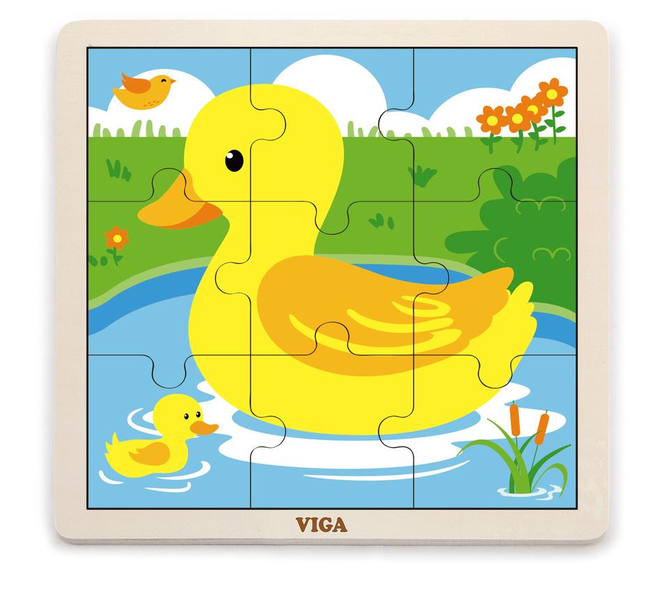 Viga Drevené puzzle kačička 9ks