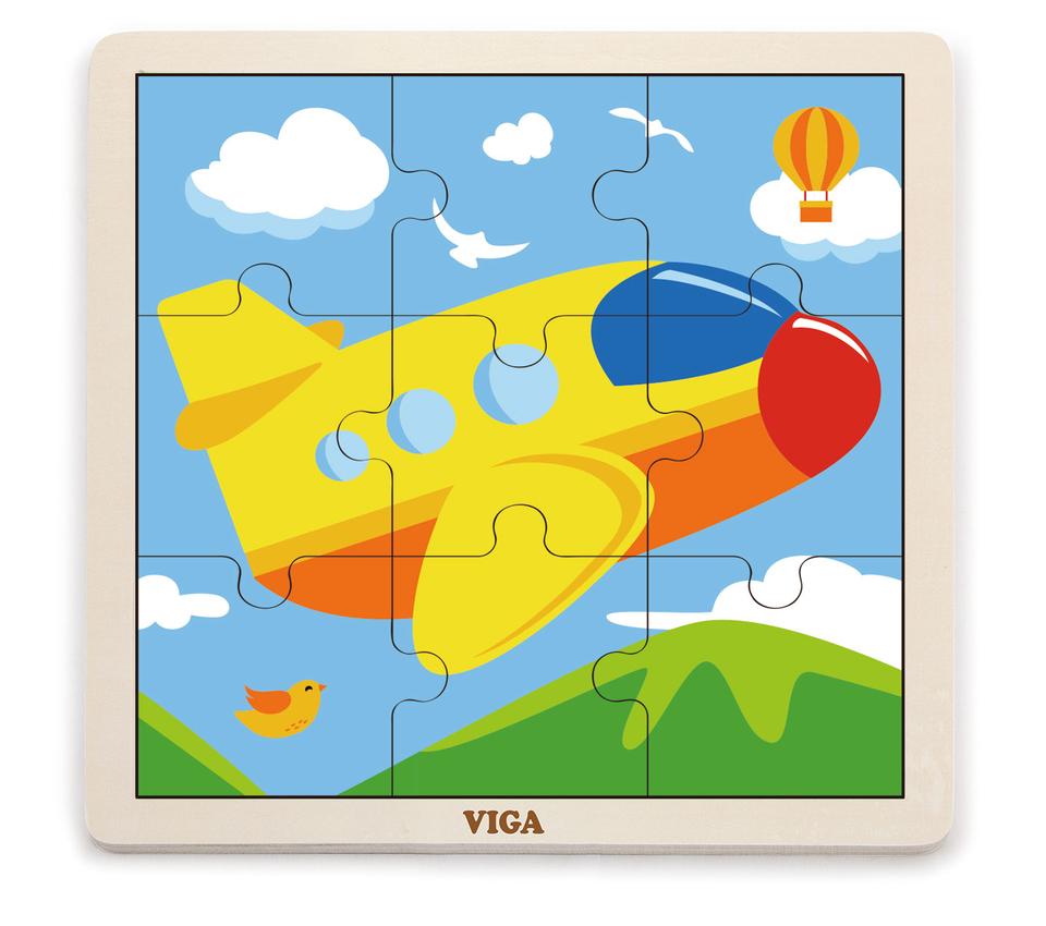 Viga Drevené puzzle lietadlo 9ks