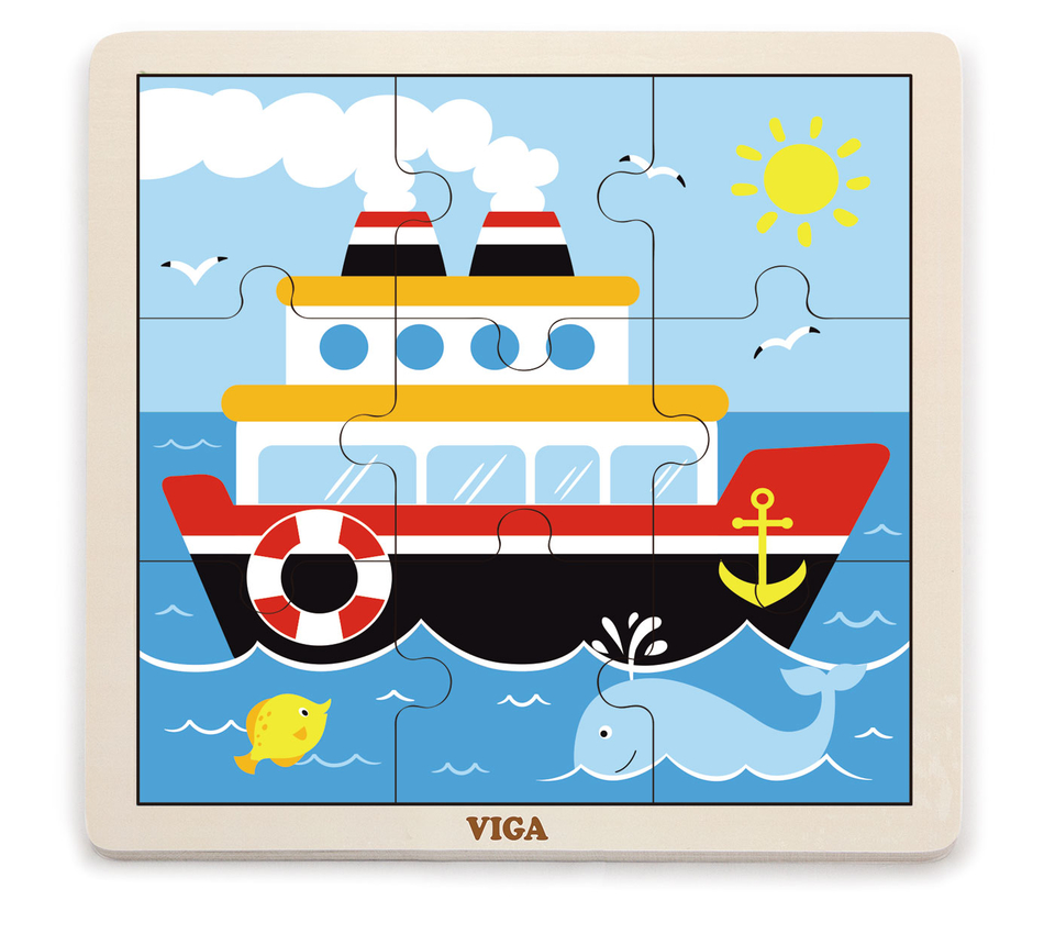 Viga Drevené puzzle loď 9ks