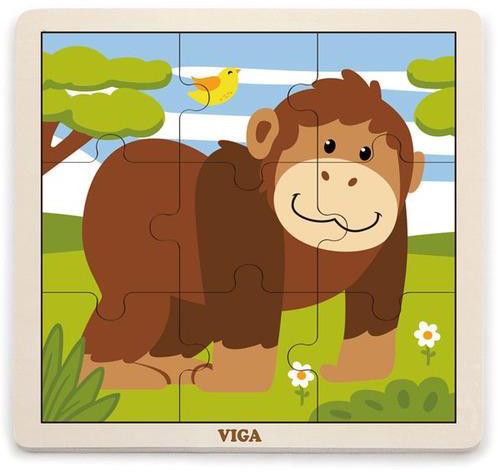 Viga Drevené puzzle opica 9ks