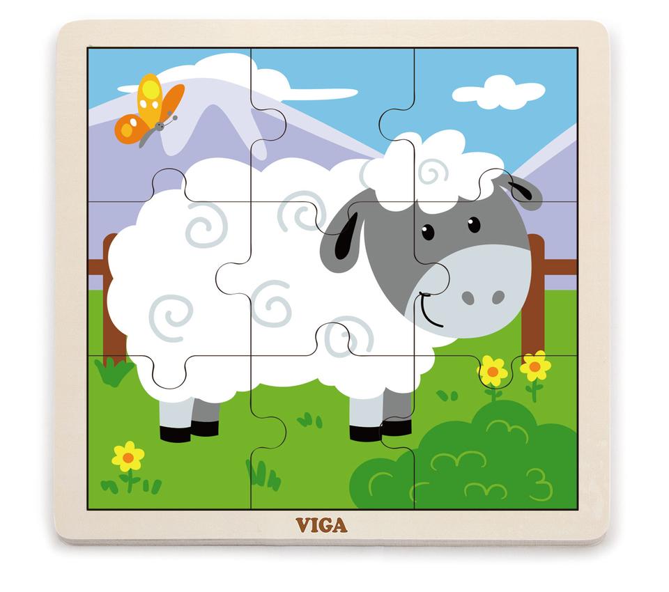 Viga Drevené puzzle ovečka 9ks