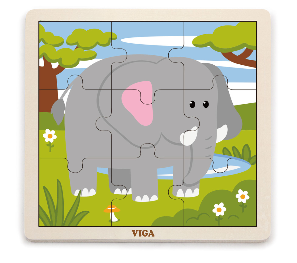 Viga Drevené puzzle slon 9ks