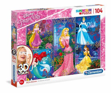 Clementoni Puzzle 104 3D Princezné