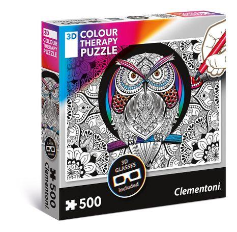 Clementoni Colour Magická sova + 3D okuliare 500 dielov