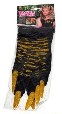 Karnevalové tigrové rukavice 36cm