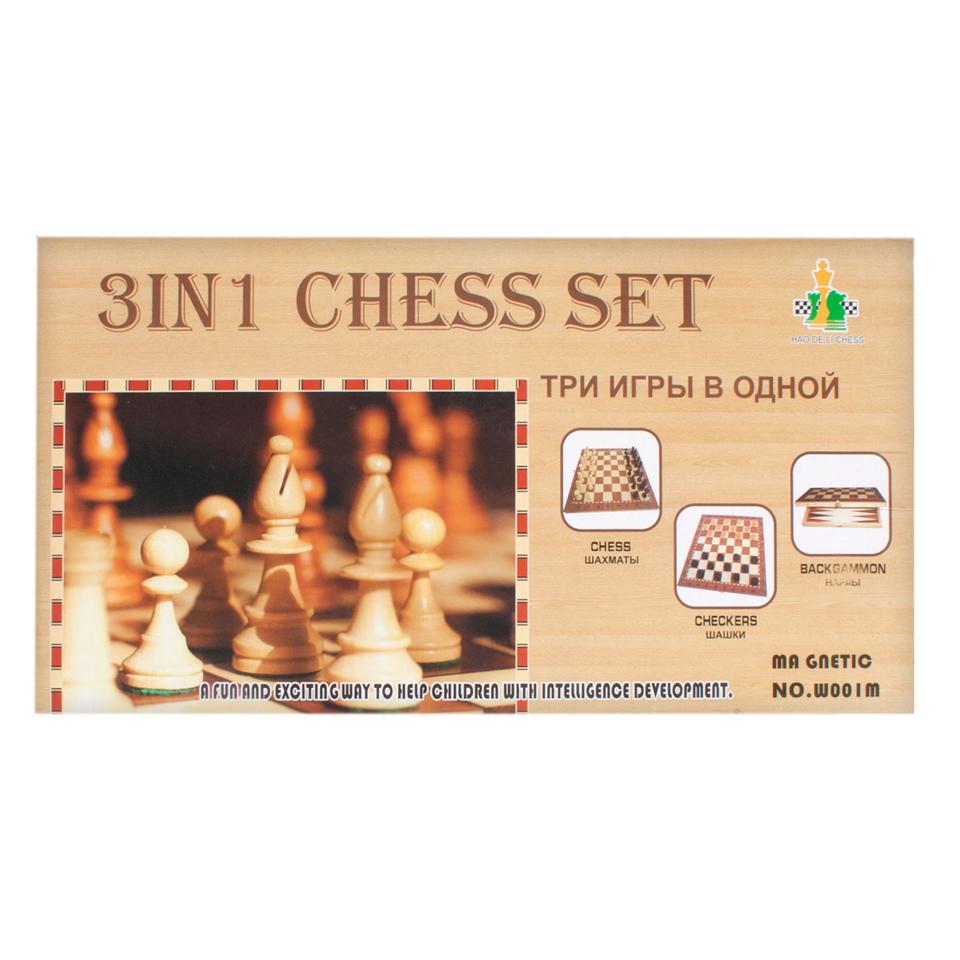 Šachy drevené 3v1
