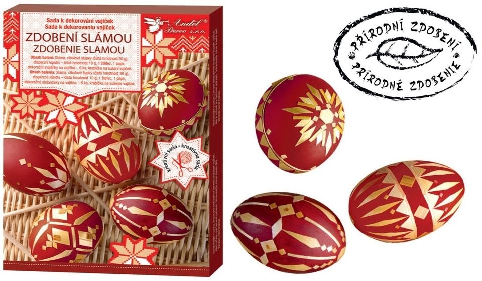 Sada na dekorovanie vajíčok - zdobenie slamou
