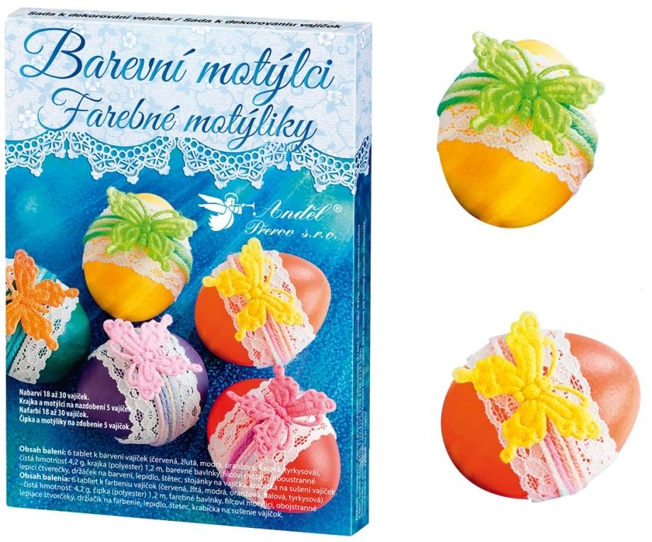 Sada na dekorovanie vajíčok - farebné motýliky
