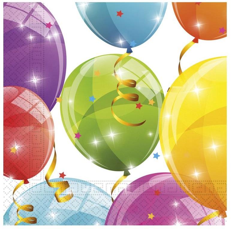 Servítky Balóny 33x33cm 20ks