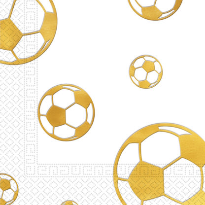 Servítky Football zlaté 33x33cm 20ks