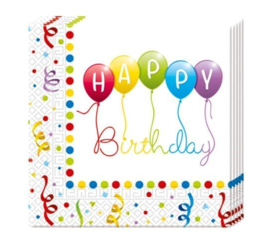Servítky Happy Birthday 33x33cm 20ks