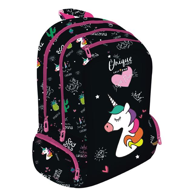 Školský batoh Lollipop Unicorn čierny