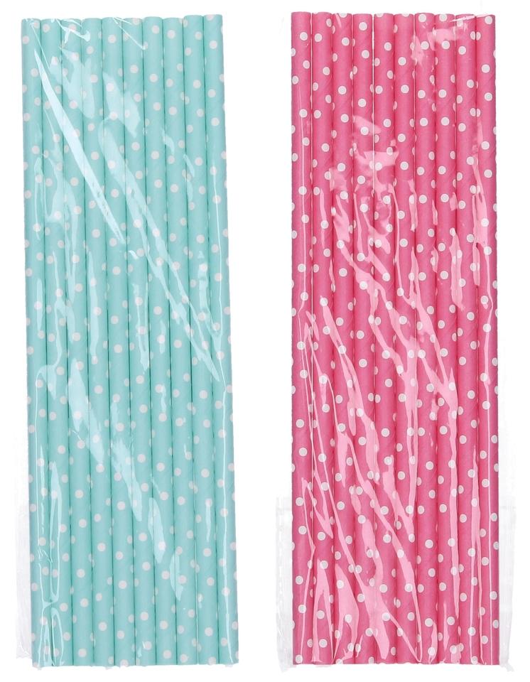 Papierové slamky s bodkami 10ks - náhodná