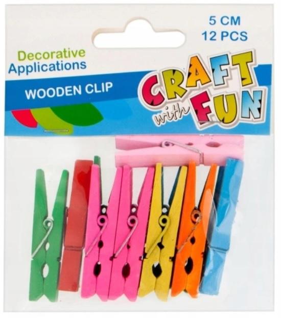 Craft with Fun Drevené farebné štipce 12ks