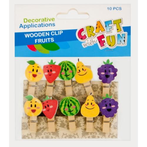 Craft with Fun Drevené štipce ovocie 10ks