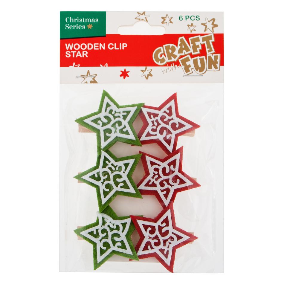 Dekoračne štipce vianočné hviezdy 6ks