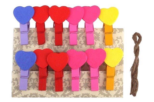 Štipce dekoračné srdce 12ks