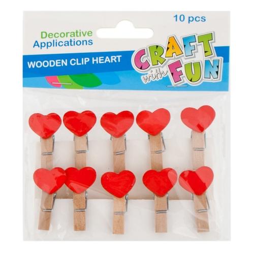 Craft with Fun Drevené štipce srdce 10ks