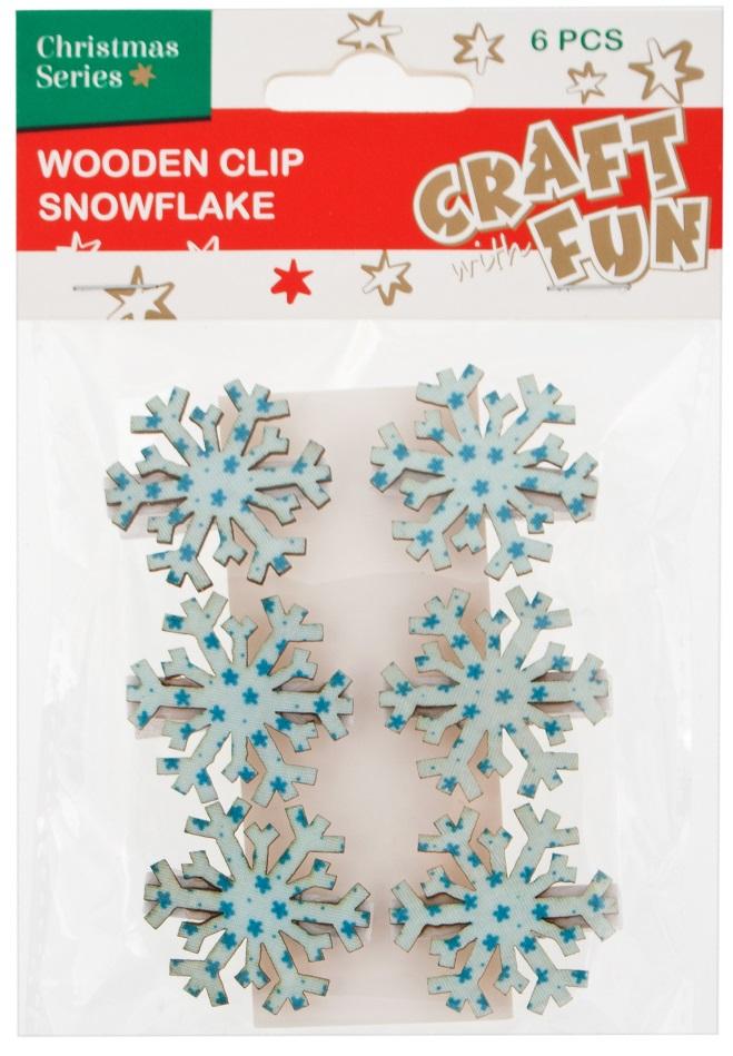 Vianočná dekorácia štipce snehové vločky 6ks