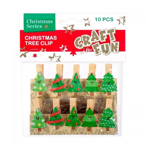 Dekoračné vianočné štipce so stromčekom 10ks