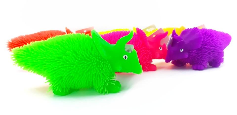 Dinosaurus svietiaci 12cm - neonová oranžová