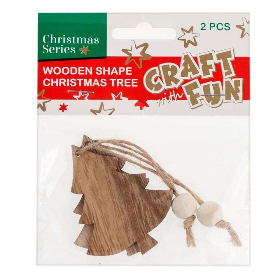 Vianočná dekorácia Drevený stromček na zavesenie 2ks